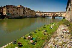 佛罗伦萨,托斯卡纳- 2011年4月09日- Ponte Vecchio老桥梁 库存照片