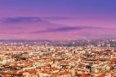 佛罗伦萨,美好的日落的意大利全景  大教堂城市中央寺院佛罗伦萨意大利维修服务 图库摄影