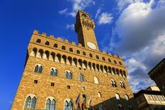 佛罗伦萨, Palazzo Vecchio城镇厅在佛罗伦萨,托斯卡纳,意大利 免版税库存照片