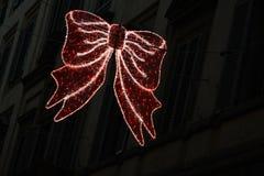 佛罗伦萨2017年12月9日:圣诞灯装饰在佛罗伦萨的中心 免版税库存图片