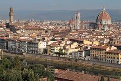 佛罗伦萨从米开朗基罗广场的市中心 库存图片