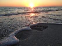 佛罗里达与脚印的海滩日落在沙子 图库摄影