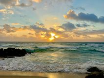 佛罗里达在Deerfield海滩的早晨日出 免版税库存图片