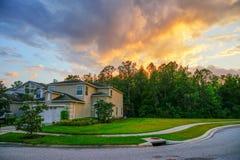 佛罗里达太阳集合和房子 库存图片