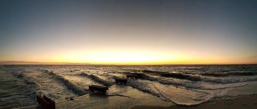 佛罗里达海滩日落 免版税库存照片