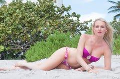 佛罗里达海滩的白肤金发的头发的妇女 库存图片