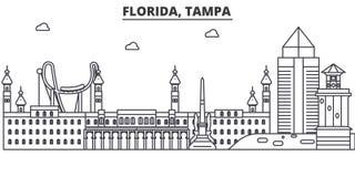 佛罗里达,坦帕建筑学线地平线例证 与著名地标的线性传染媒介都市风景,城市视域 库存例证