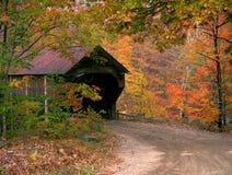 佛蒙特伍德斯托克被遮盖的桥在秋天 免版税库存图片