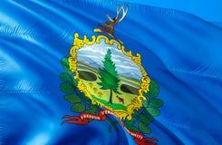 佛蒙特旗子 挥动美国州旗子设计的3D 佛蒙特州,3D的全国美国标志翻译 全国颜色和全国 库存图片