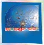 作为一个对一起被绘的女性男性 库存照片