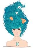 作为一个美丽的女孩的双鱼座占星术标志。 免版税库存照片