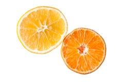 作为一半的橙色蜜桔和柠檬果子齿轮 免版税库存图片