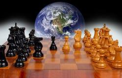 作为一盘象棋政治世界 图库摄影