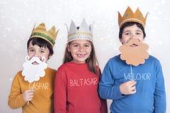 作为三个圣人假装的孩子 免版税库存照片