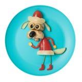 作为与新鲜蔬菜的圣诞老人被做的狗 免版税图库摄影
