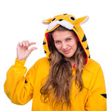 作为与copyspace的一只老虎打扮的女孩 库存照片