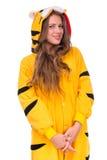 作为与copyspace的一只老虎打扮的女孩 库存图片