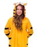 作为与copyspace的一只老虎打扮的女孩 免版税图库摄影