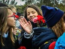 作为争斗的重建的一部分一次纪念集会在莫斯科附近的世界大战2 免版税图库摄影