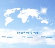 作为云彩的世界地图与在背景的天空 免版税库存照片