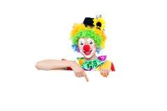 作为五颜六色的小丑的美丽的少妇 库存图片