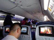 作为人的三角洲喷气机飞机内部视图准备非委员会 免版税图库摄影