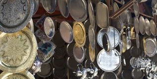 作为从东部的纪念品装饰的盘 免版税库存图片