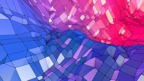作为光亮的环境的抽象简单的蓝色红色低多3D表面 与纯净的软的几何低多行动背景 库存例证