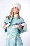 作为克劳斯加工好的女孩俄语圣诞老&# 库存照片