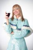 作为克劳斯加工好的女孩俄语圣诞老&# 免版税库存图片