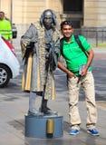 作为克里斯托弗・哥伦布穿戴的人的雕象执行在La镭 库存照片