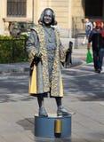 作为克里斯托弗・哥伦布穿戴的人的雕象 免版税库存照片