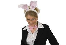 作为兔宝宝企业复活节妇女 图库摄影