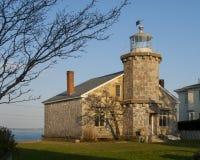 作为公立图书馆使用的独特的石灯塔在新英格兰 免版税图库摄影
