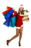 作为加工好的圣诞老人妇女 免版税库存图片