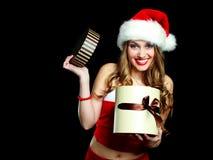 作为加工好的圣诞老人妇女 库存照片