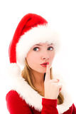 作为加工好的女孩俏丽的圣诞老人 图库摄影
