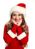 作为加工好的女孩圣诞老人 免版税库存图片