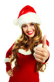 作为加工好的女孩圣诞老人 免版税图库摄影