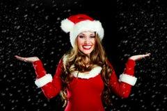 作为加工好的女孩圣诞老人 库存照片