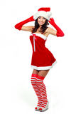 作为加工好的女孩圣诞老人 库存图片
