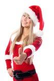作为加工好的女孩她的圣诞老人赞许 库存图片