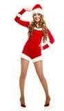 作为加工好的女孩愉快的圣诞老人 库存图片