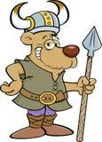 作为北欧海盗和拿着矛穿戴的动画片熊 免版税图库摄影