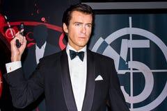 作为占士邦007的皮尔斯・布鲁斯南-蜡象,阿姆斯特丹 免版税库存图片