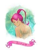 作为占星术美好的女孩天蝎座符号 免版税库存图片