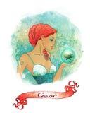 作为占星术美好的癌症女孩符号 免版税库存图片