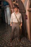 作为印第安纳・琼斯的哈里逊福特在蜡象的Grevin博物馆在布拉格 免版税库存图片