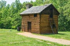 作为厨房使用的原木小屋根据登记人T 纪念碑国民华盛顿 免版税库存图片