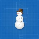 作为图纸被画的雪人标志。 库存照片